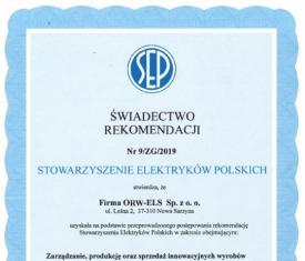 Świadectwo Rekomendacji Stowarzyszenia Elektryków Polskich dla ORW-ELS