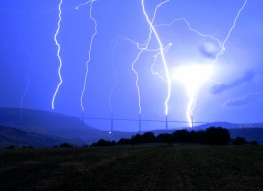 The Millau Viaduct, France (lightning discharge aiming seven piers - 6.08.2013)